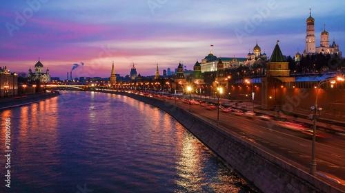Foto op Plexiglas Kiev winter sunset in Moscow, Russia