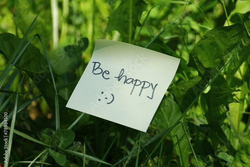 Photo  Motivation message Be happy in green grass
