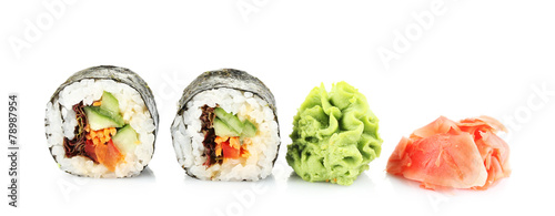 Printed kitchen splashbacks Sushi bar Vegetarian sushi rolls isolated on white