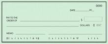 Blank Check With Green Pattern Background