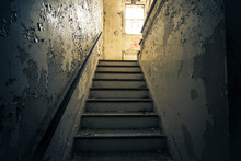 Dark  Staircase With Bright Wi...