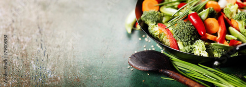 Fotografie, Obraz  Chinese cuisine. Wok cooking vegetables.