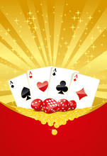 Gambling Background With Four Aces, Dices And Golden Coins
