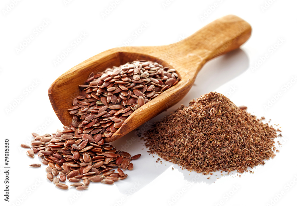 Fototapety, obrazy: Flax seeds on a white background