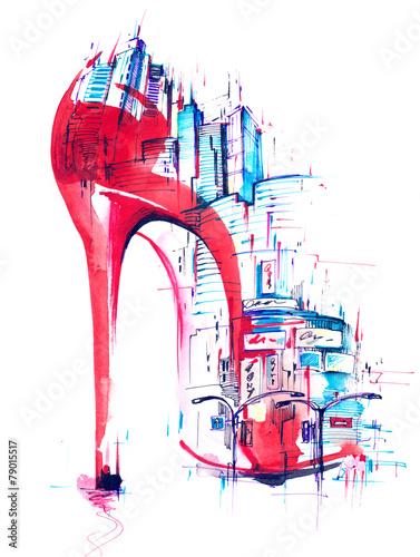 Foto auf Leinwand Gemälde fashion and city