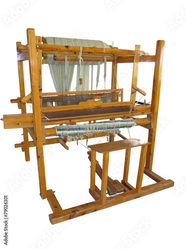 Fotografie, Obraz  Vintage ancient wooden loom isolated over white