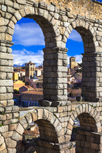 Segovia , Spain - Arches Of Roman Aqueduct