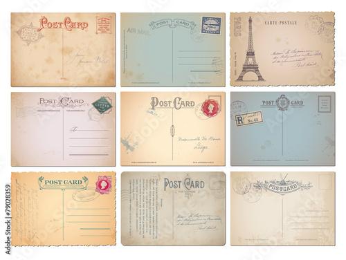Fotografía  set of nine blank vintage vector postcards
