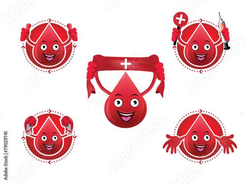 Fotografie, Obraz  Cartoon smiling blood icons set