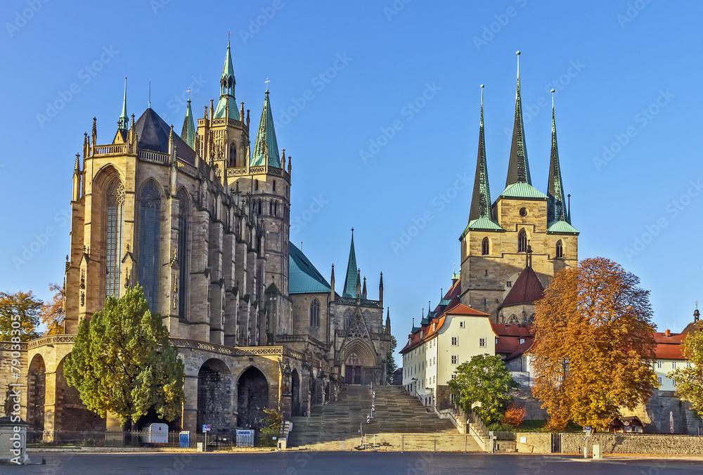 Fototapety, obrazy: Erfurt Cathedral and Severikirche,Germany