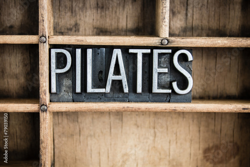 Photo  Pilates Concept Metal Letterpress Word in Drawer