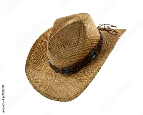 0b2ca3a138a69 Old straw cowboy hat isolated on white - Buy this stock photo and ...