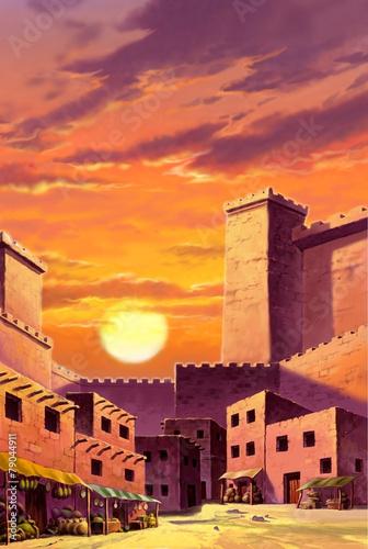 ilustracja-krajobrazowa-slonce-nad-budynkami-rysunek-grafika