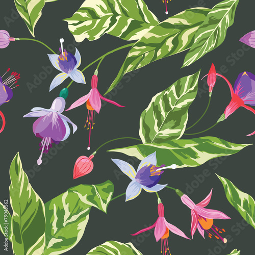 Foto op Canvas Draw Tropical Flowers and Leaves Background