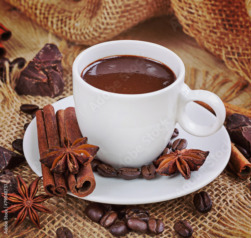 Spoed Foto op Canvas Chocolade Hot chocolate, chocolate chips, cinnamon and star anise. Vintage