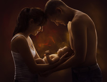 Family Portrait And Baby, Young Mother Father Holding New Born