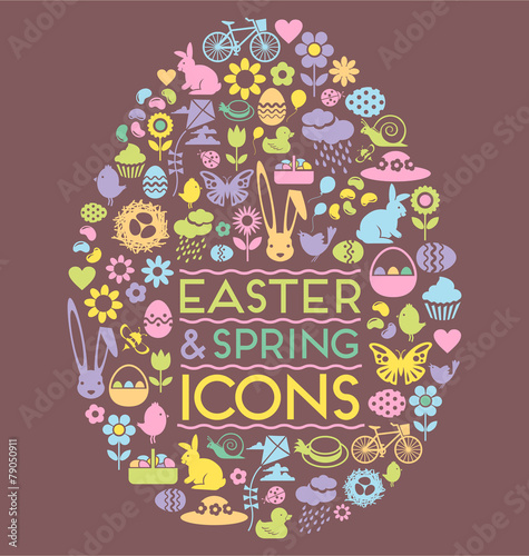 Photo  easter and spring icons easter egg