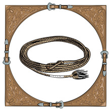 Cowboy Calf Rope In The Western Leather Frame. Vector