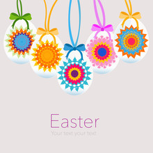 Hanging Easter Eggs With Kaleidoscope Symbol Greeting Card
