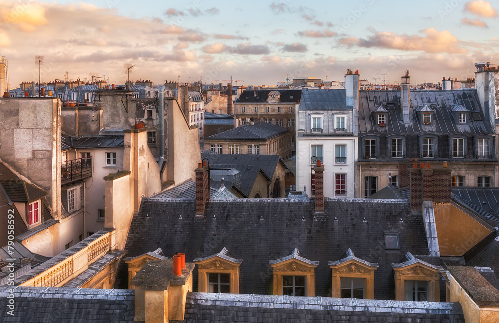 Fototapety, obrazy: Paris rooftops in the historic heart of the city. Romantic view