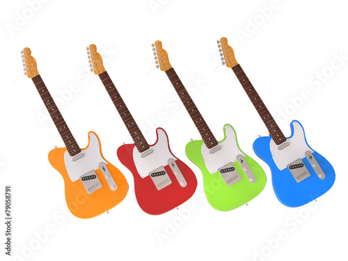 Photo  Bright and happy electric guitars