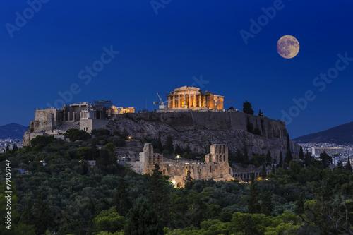 Fotobehang Athene Parthenon temple on the Acropolis of Athens,Greece