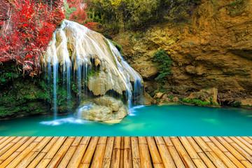 Fototapeta Wodospad wonderful waterfall in thailand with bamboor floor