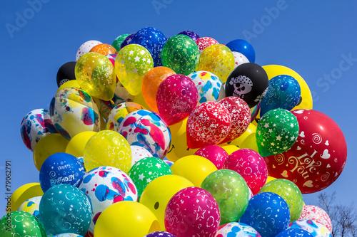 Poster Confiserie balloons carnival blue sky