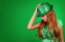 St. Patrick's Day Girl. Young Woman Wearing Hat