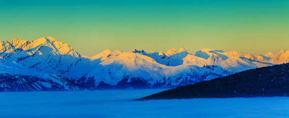 Panel Szklany Góry Thyon 4 Valleys, Swiss Alps - panorama