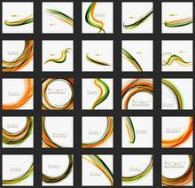 Orange And Green Wave Line Design, Nature Eco Concept