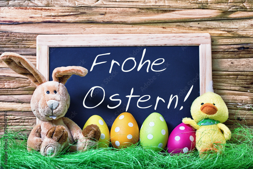 Frohe Ostern Karte.Photo Art Print Frohe Ostern Karte Europosters