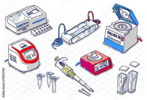 Valokuva  Isometric Sketch - Molecular Biology - Laboratory Set