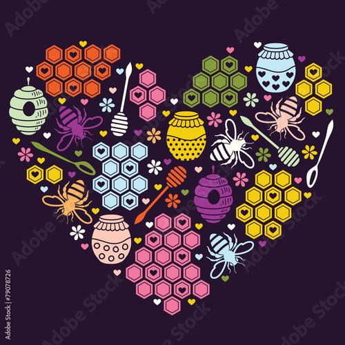Honey heart. Vector illustration