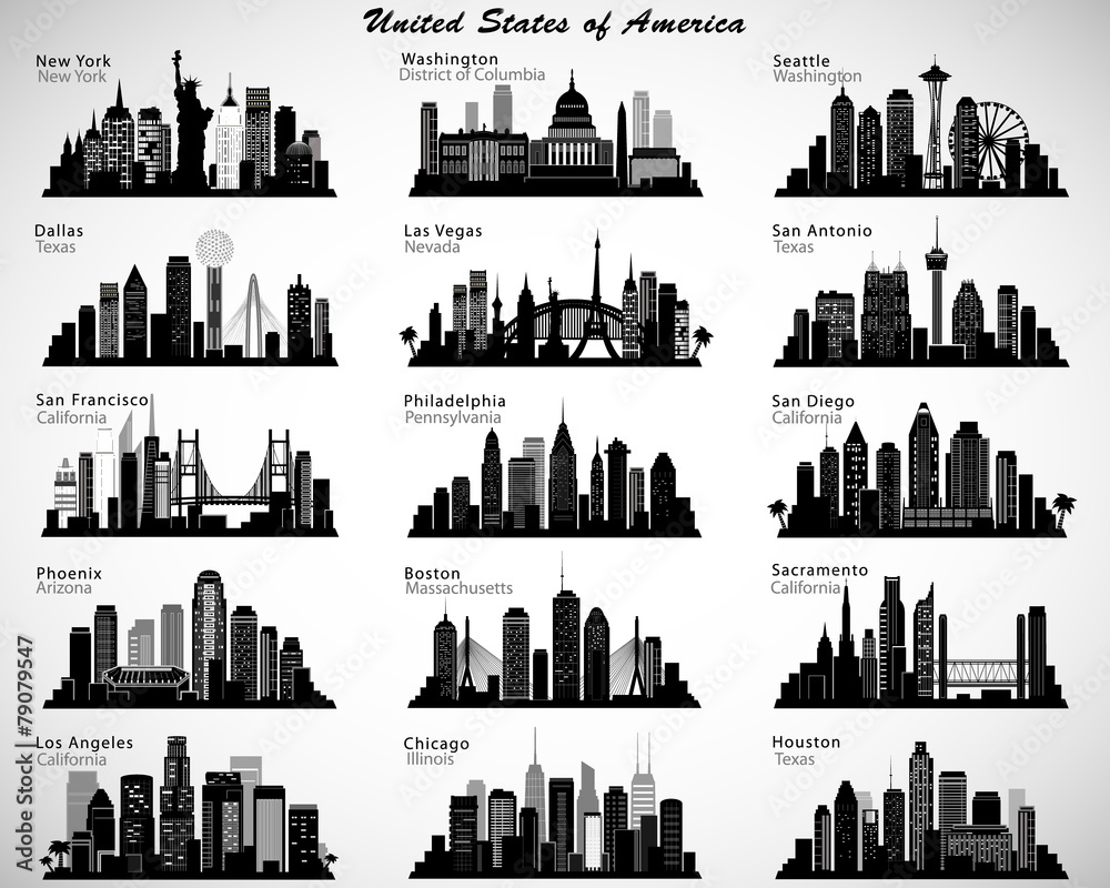 Fototapeta USA cities skylines set. Vector silhouettes