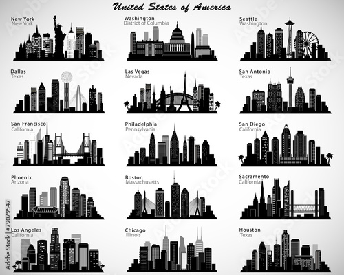 Obraz USA cities skylines set. Vector silhouettes - fototapety do salonu