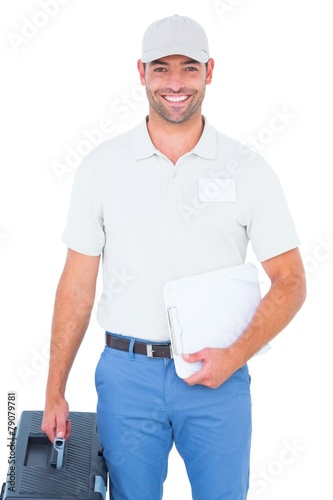 Fotomural  Confident male technician with toolbox and clipboard