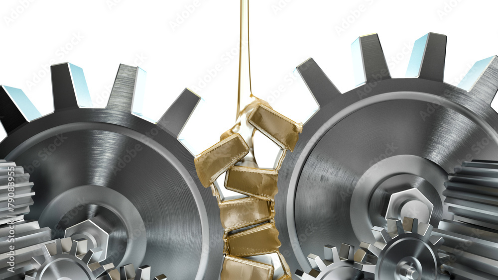 Fototapety, obrazy: Oiling Gears on white background