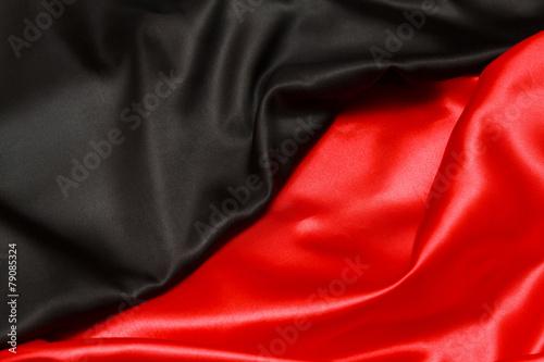 Staande foto Noord Europa Red and black silk. top view