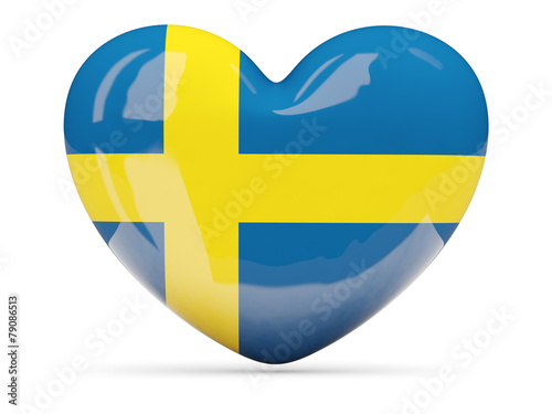 Fotografía  Heart shaped icon with flag of sweden