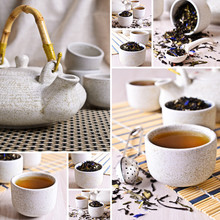 Collage Of Photos With Black Tea