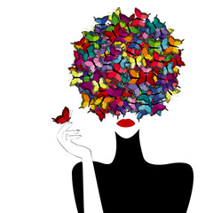FototapetaStylized woman wiith colored butterflies on her head