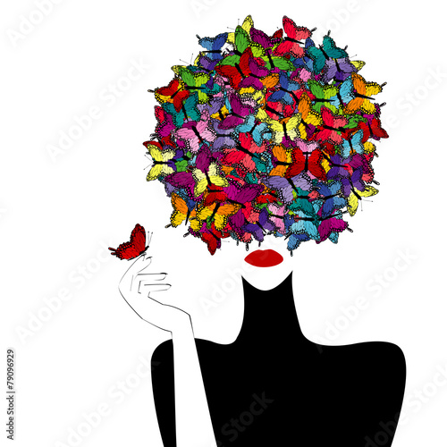 Stylized woman wiith colored butterflies on her head - 79096929