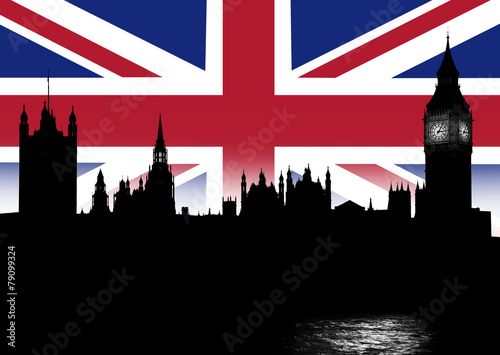 Skyline London und Britische Nationalflagge Poster Mural XXL