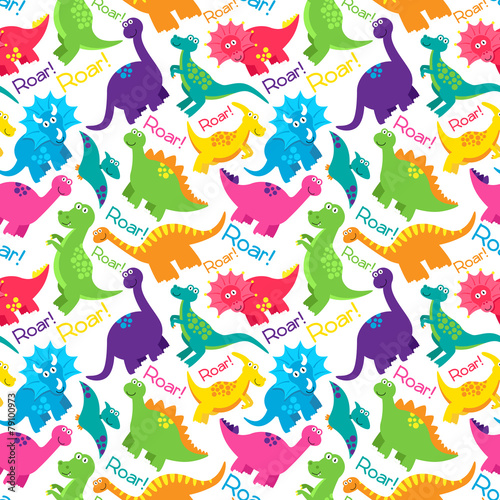 Photo Dinosaur Seamless Tileable Vector Background Pattern