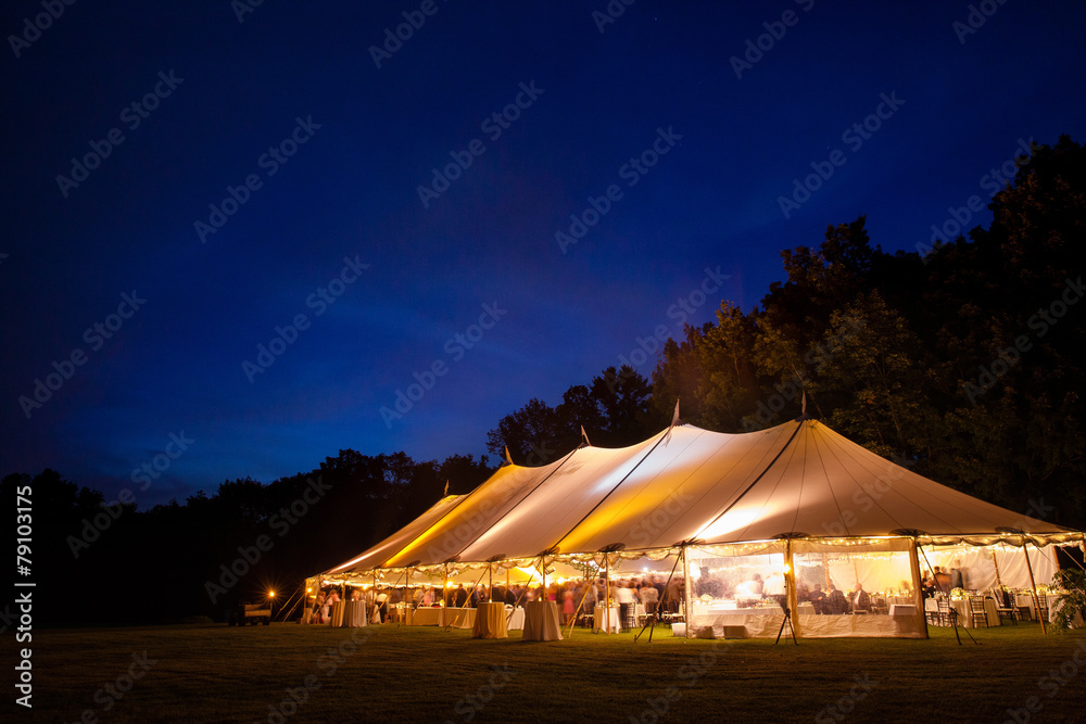 Fototapeta A wedding tent right after sunset