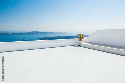 Fotobehang Wit White architecture on Santorini island, Greece