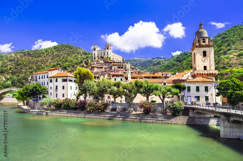 Foto auf Leinwand Olivgrun Dolceaqua - pictorial villages of Italy series