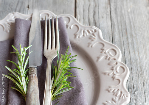 Vintage Table setting with rosemary decor & Vintage Table setting with rosemary decor - Buy this stock photo and ...