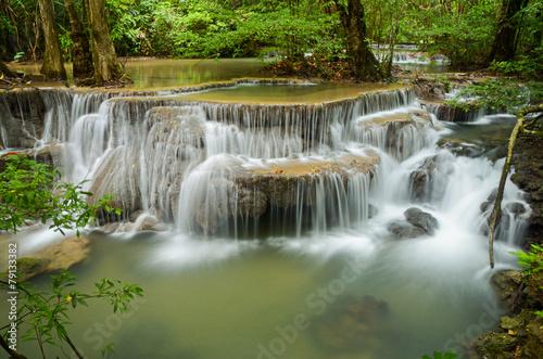 Wall Murals Waterfalls Deep forest Waterfall ,Huay Mae Khamin, Kanchanaburi ,Thailand